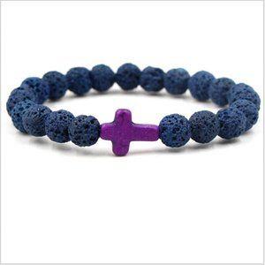 NWOT Blue Lava Rock Beaded Purple Cross Bracelet
